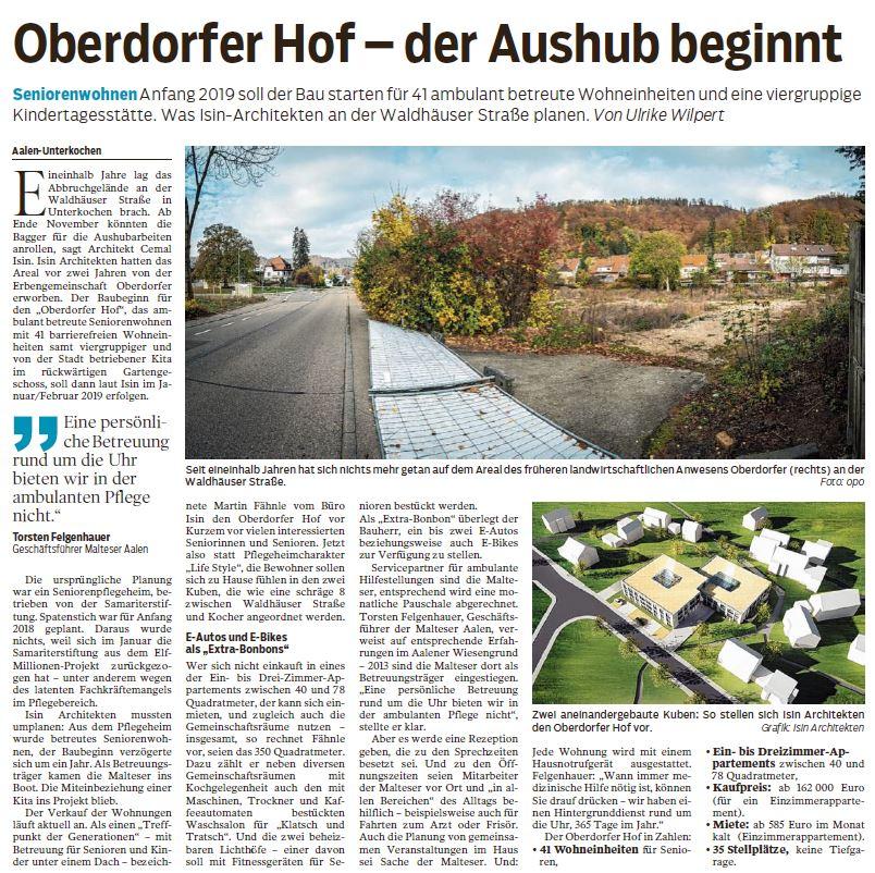 Treffen der Generationen: Oberdorfer Hof – der Aushub beginnt