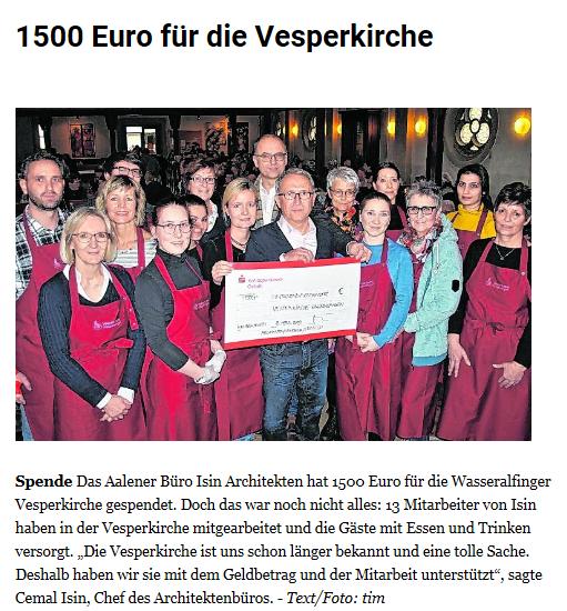 1500 Euro für die Vesperkirche